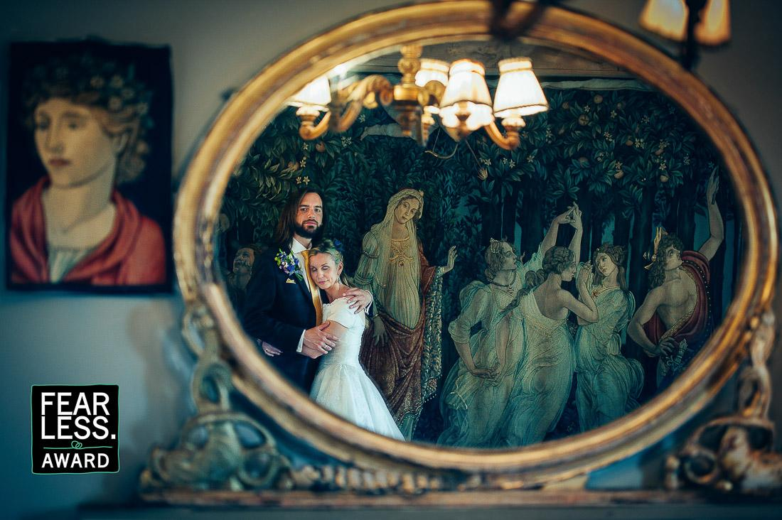 Wedding Couple Reflection in Mirror